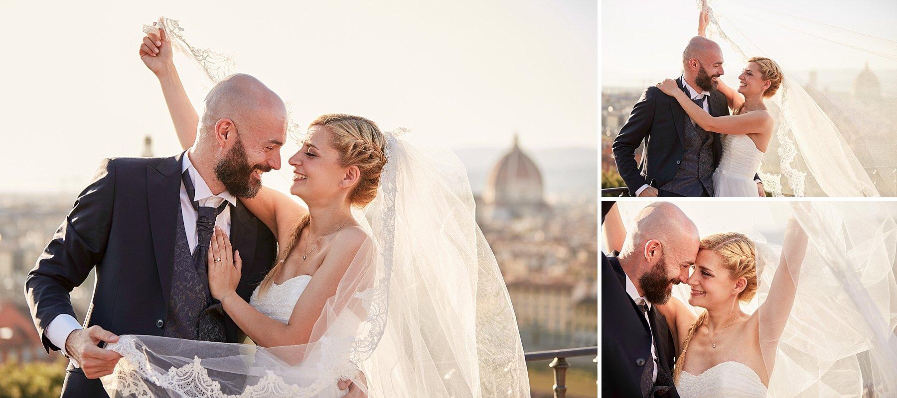 ritratto di sposi a Firenze dal piazzale michelangelo in controluce