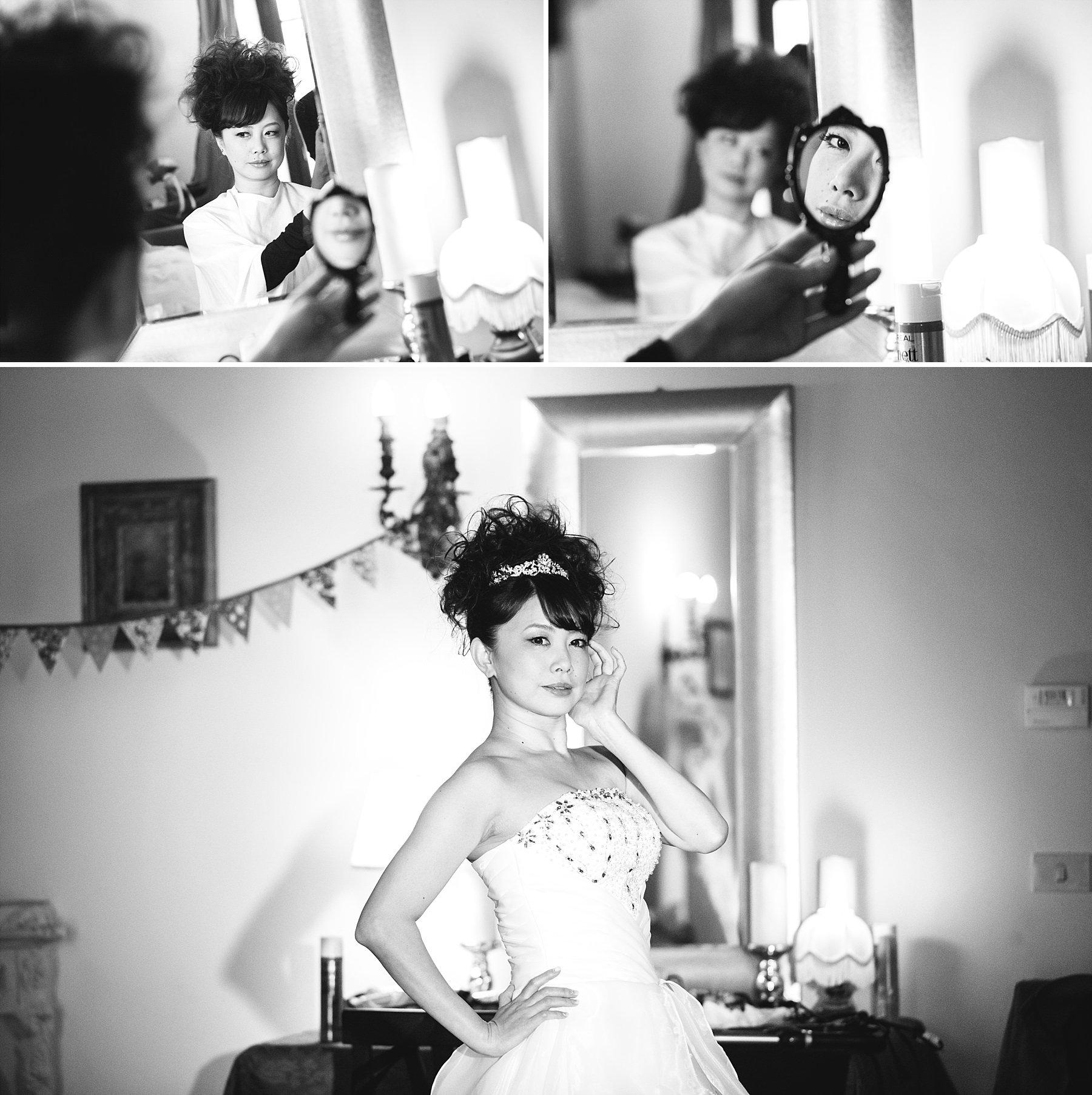 Fotografie di una sposa giapponese mentre si prepara per la cerimonia