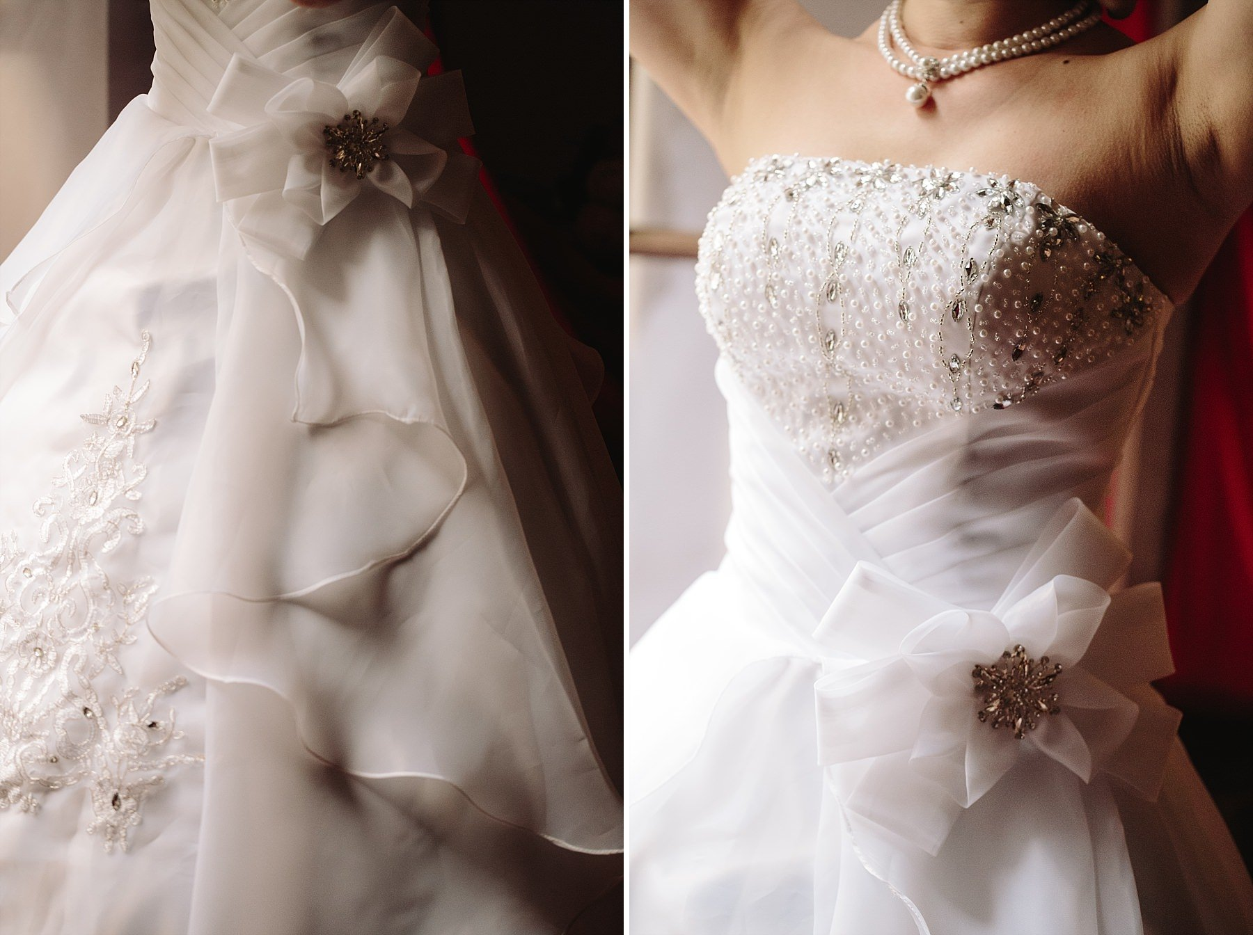 Dettagli del vestito da sposa indossato