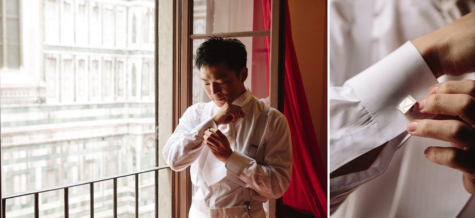 Sposo che si prepara per il matrimonio