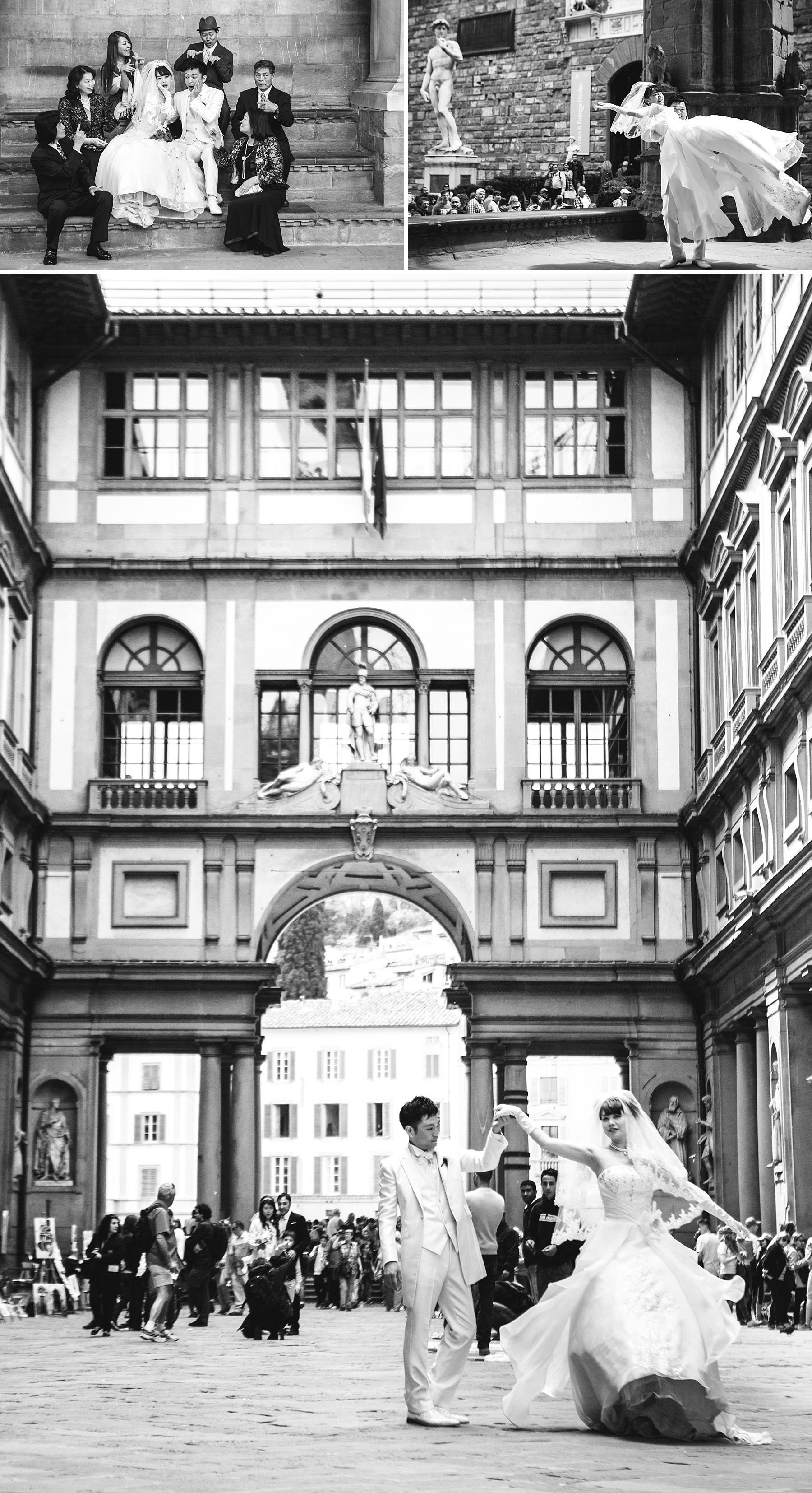 Fotografia reportage di sposi a Firenze agli Uffizzi