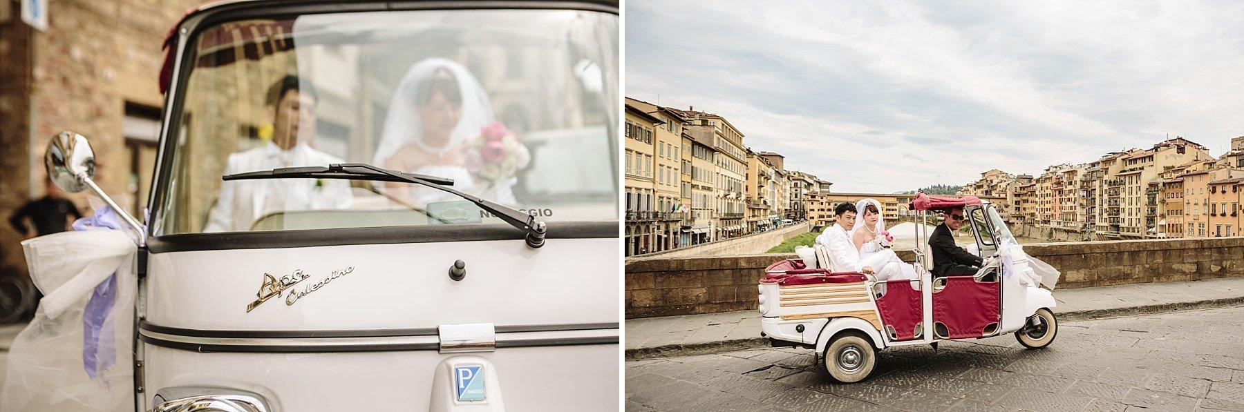 Fotografia di Matrimonio a Firenze con Ape Calessino