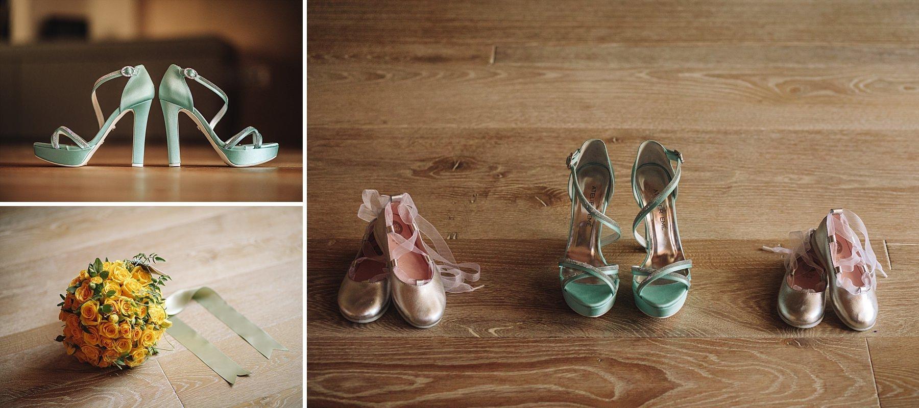 Dettagli di una Sposa con Scarpe Atelier Emé e Bouquet Jardin Divers