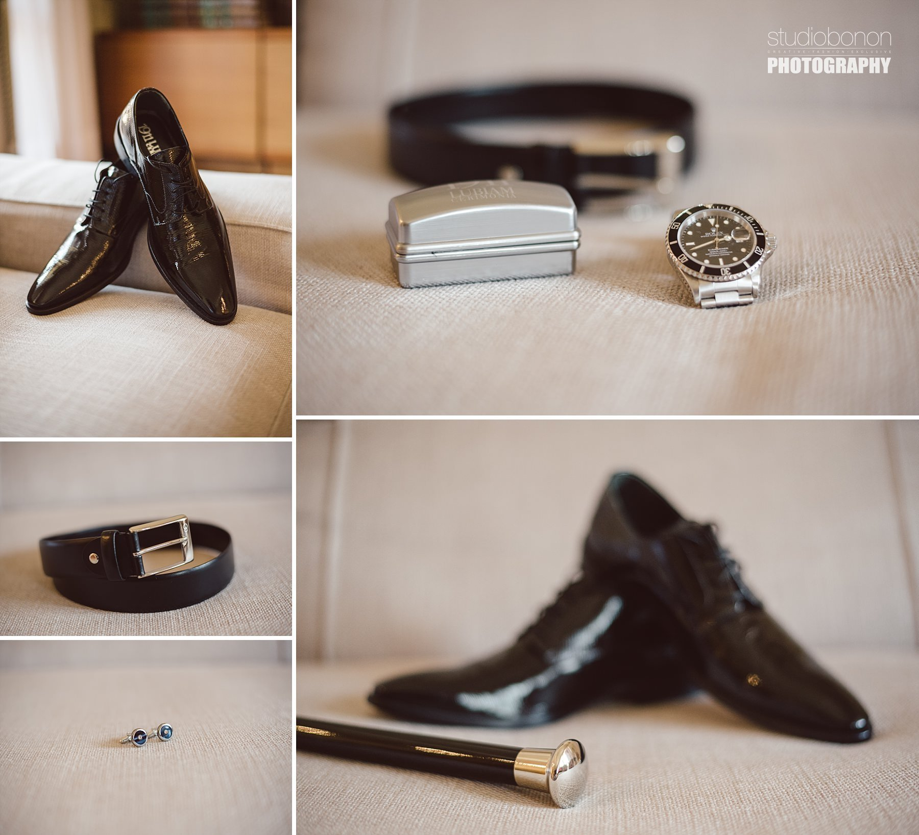 Dettagli ed accessori di uno sposo, scarpe, gemelli e orologio Rolex