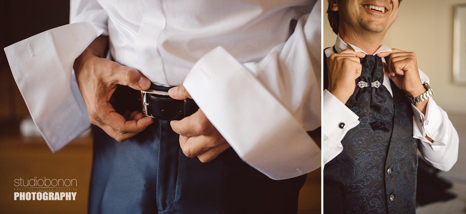 Fotografia di dettagli della preparazione di uno sposo