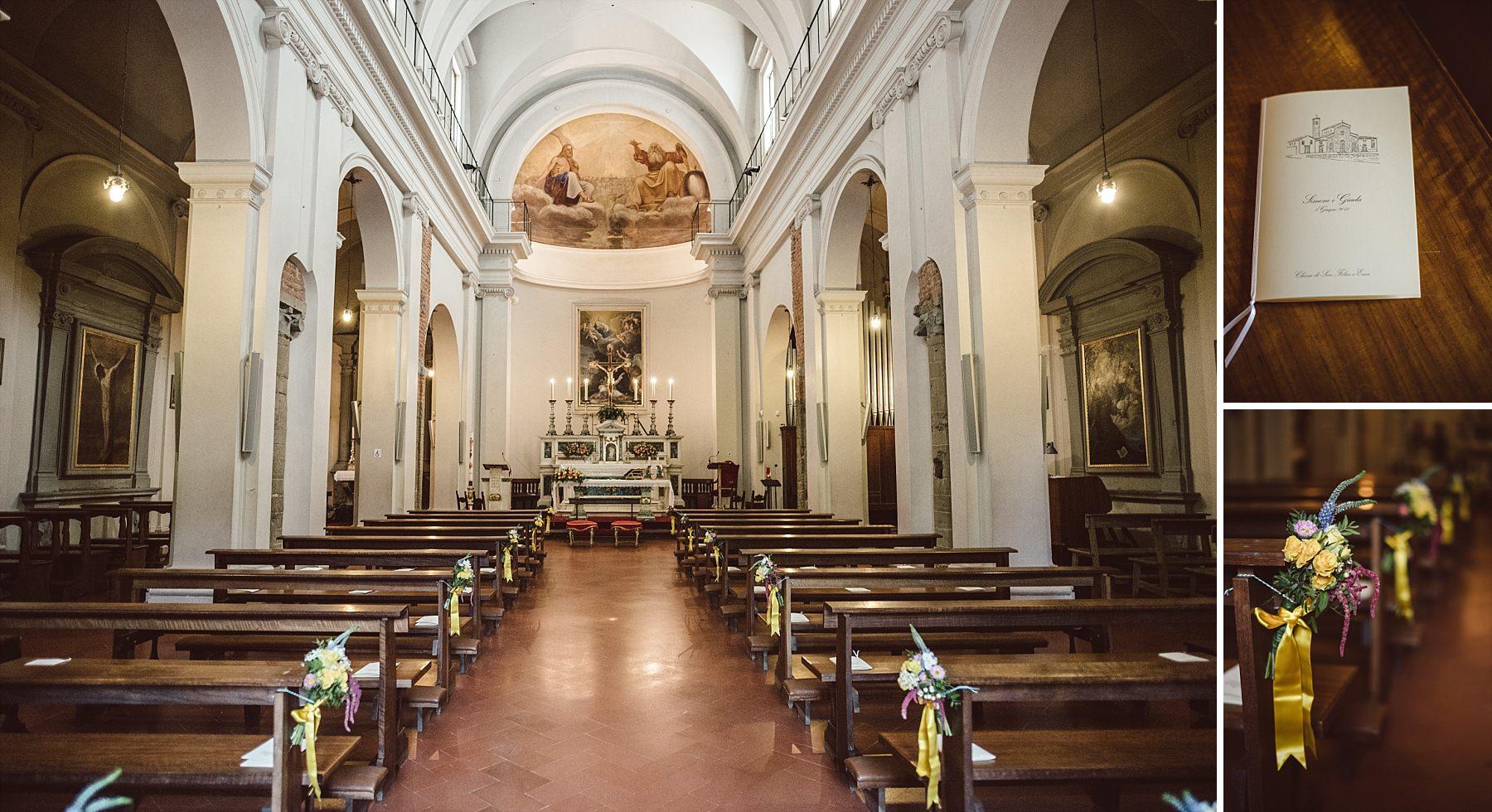Interni e dettagli di una chiesa a Firenze allestita per cerimonia matrimoniale