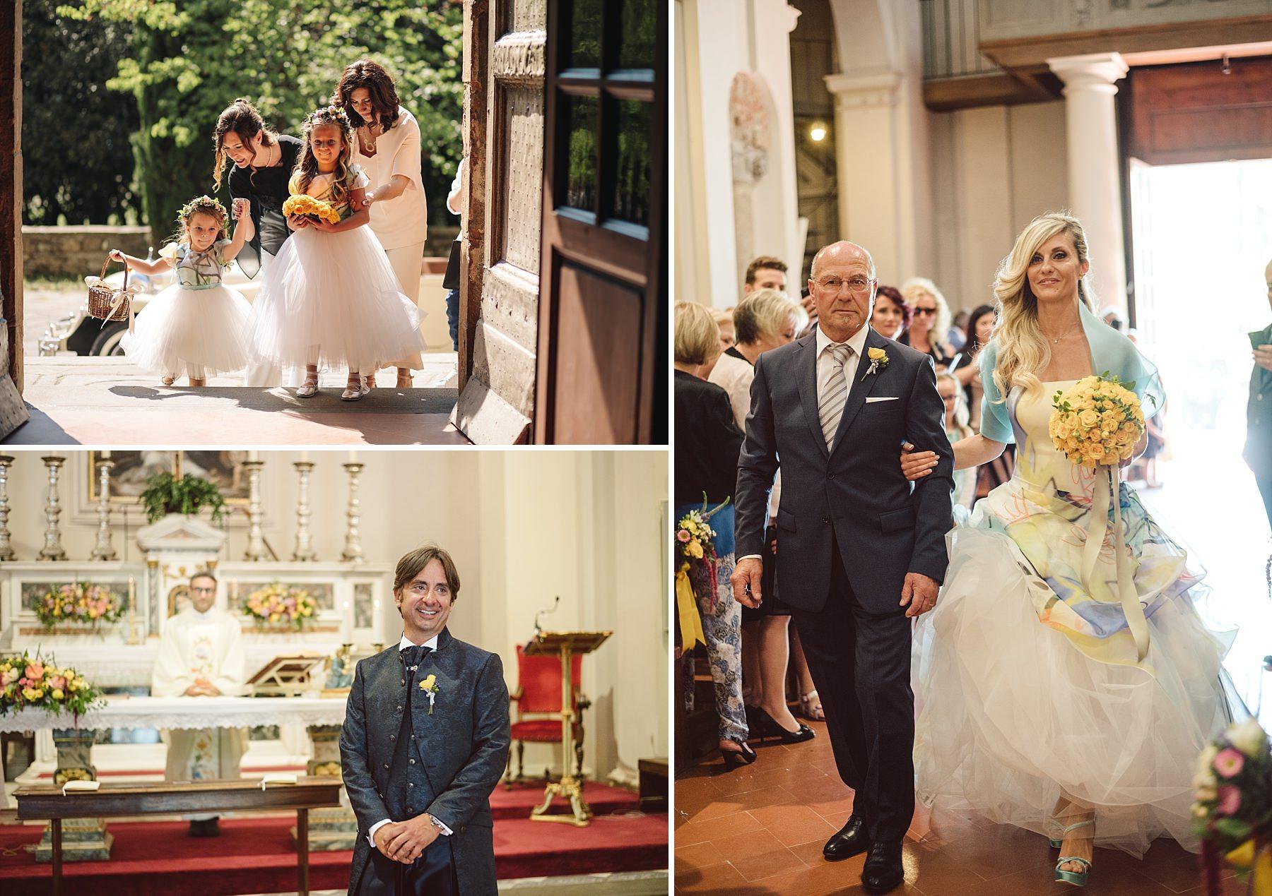 Ingresso in chiesa della sposa con le damigelle e suo padre