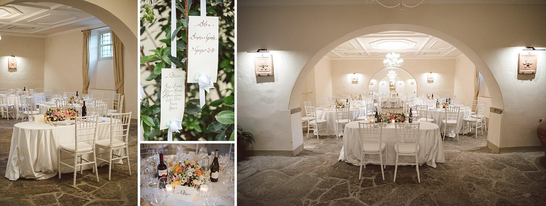 Allestimento sala da pranzo Castello di Sant'Ellero