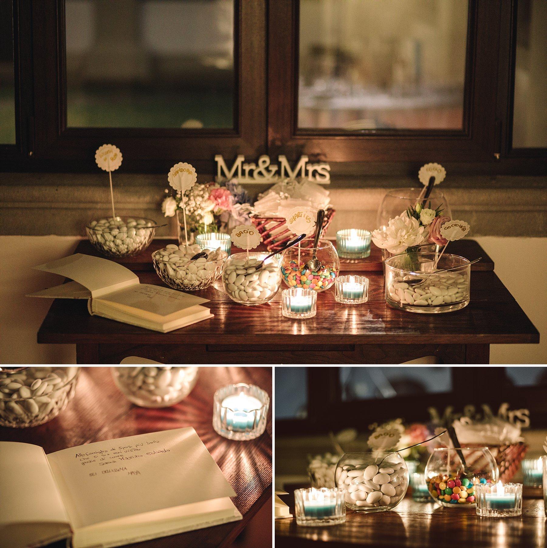 Confettata con smarties e candele Mr & Mrs