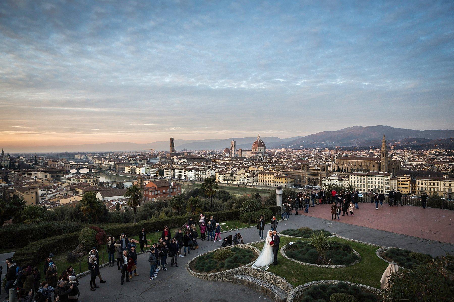 fotografia di matrimonio a Firenze dall'alto