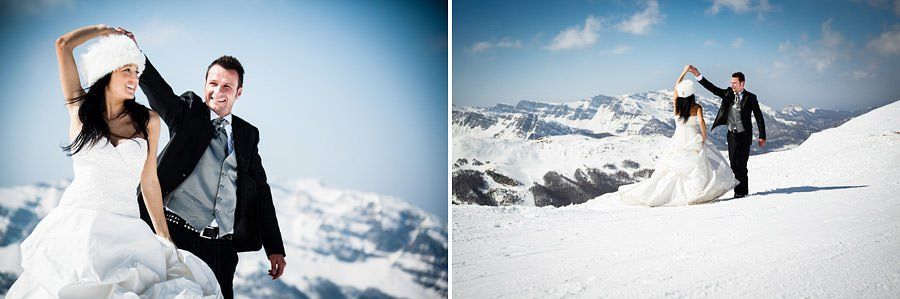 fotografia di trash the dress in montagna all'abetone