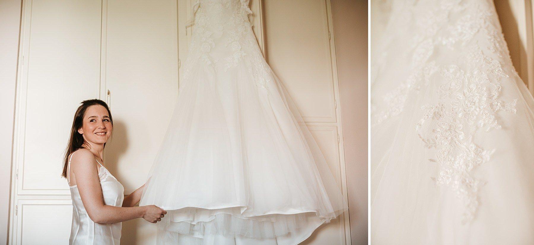 Vestito da Sposa appeso durante i preparativi