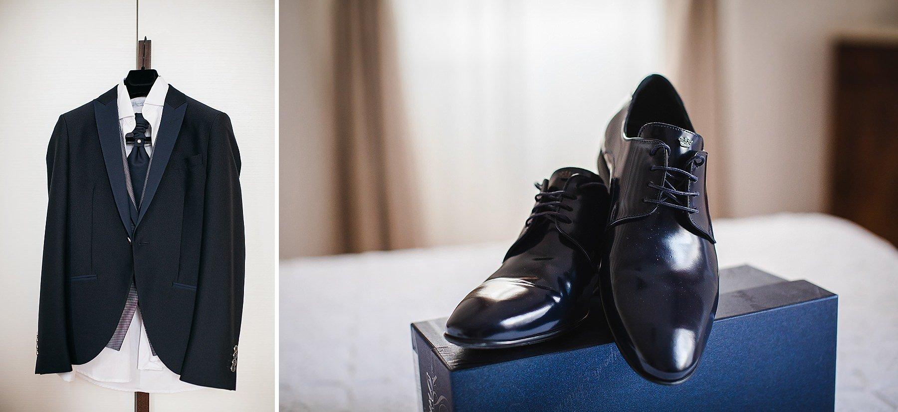 vestito e scarpe da sposo