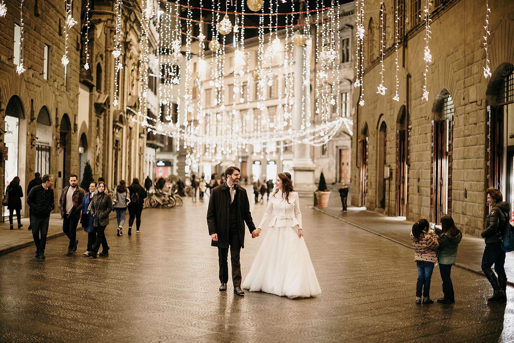 Matrimonio romantico a Firenze in Inverno