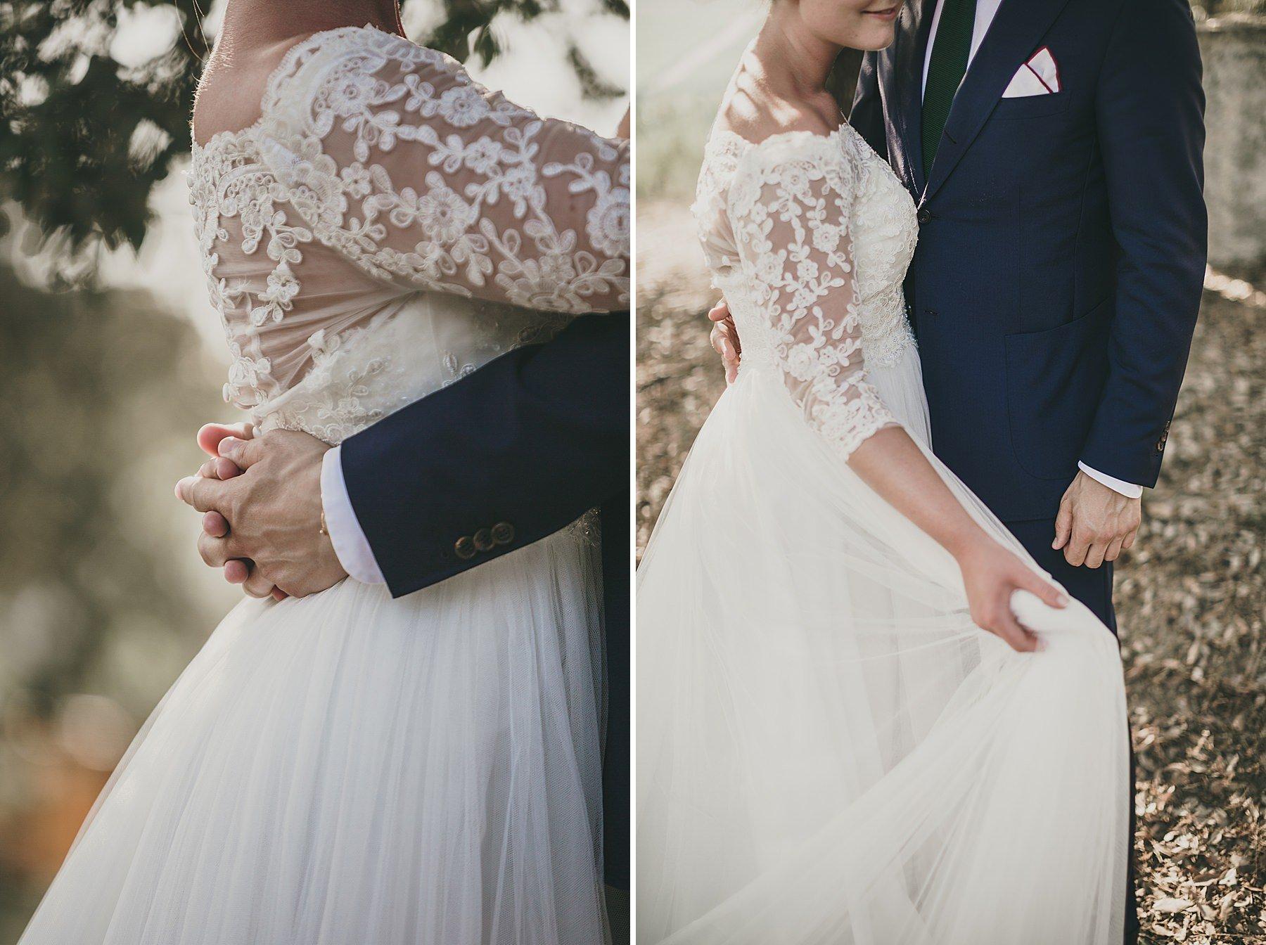 Particolari dettagli di una coppia di sposi nel giorno del matrimonio